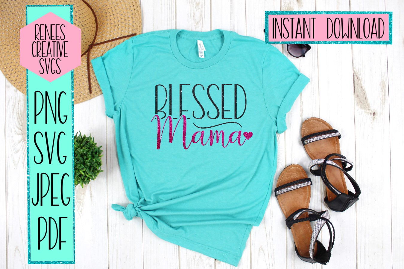 Blessed Mama   Mothers day   SVG Cut File example image 2