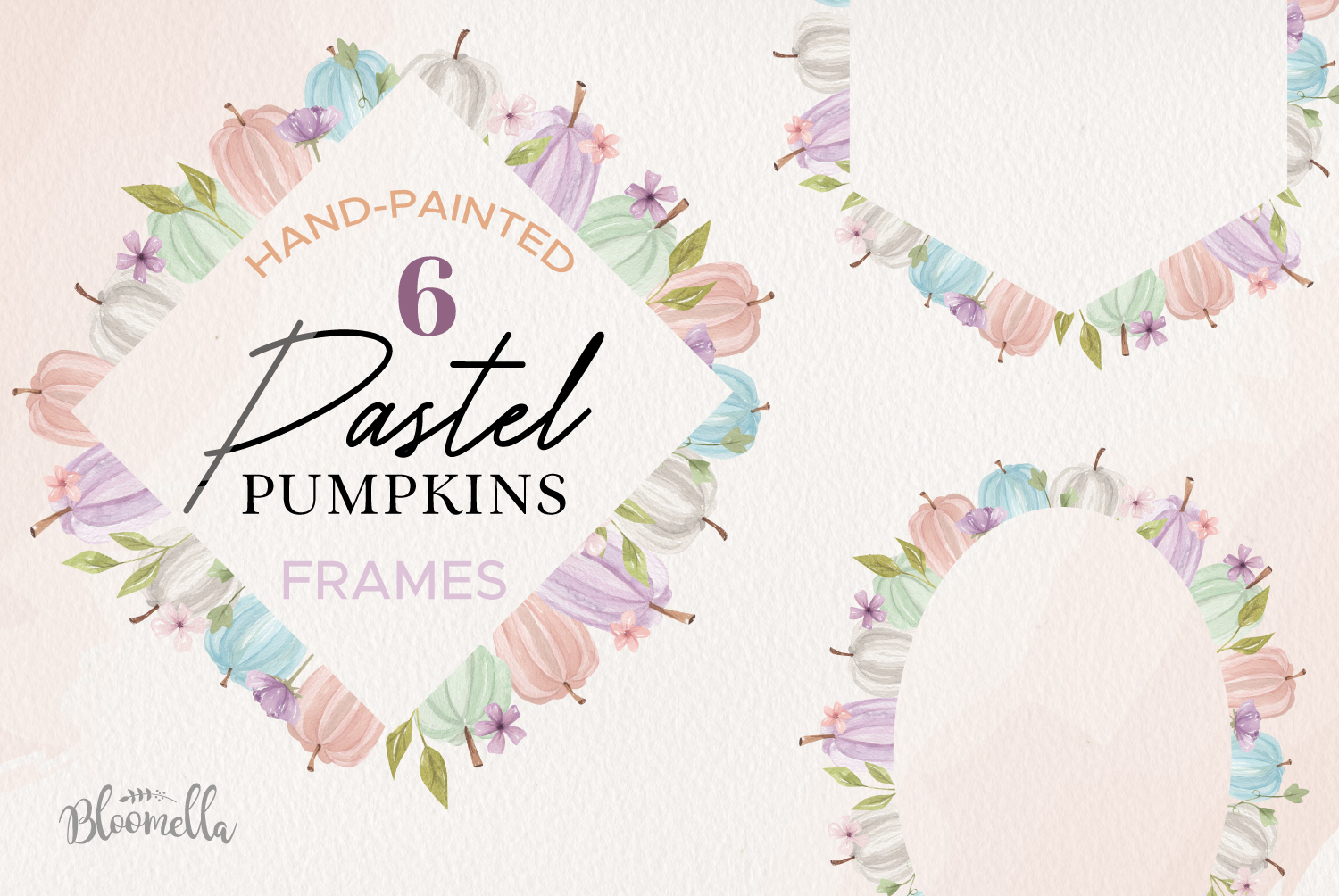 Pastels Pumpkins Fall Purple Pink 6 Frames Watercolor example image 1