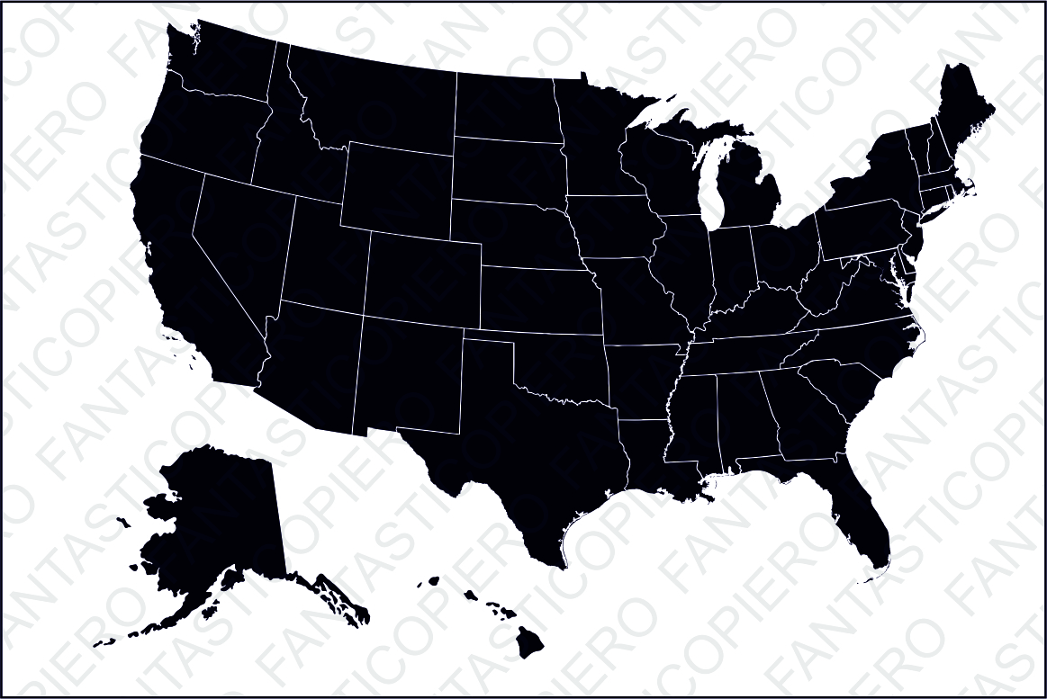 United States of America SVG files for Silhouette Cameo and Cricut. USA clipart PNG included. Alaska and Hawaii separated. us svg, example image 1
