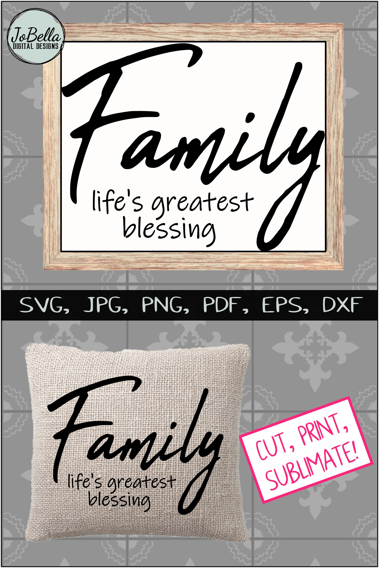 Family Life's Greatest Blessing SVG, Sublimation PNG & Print example image 4
