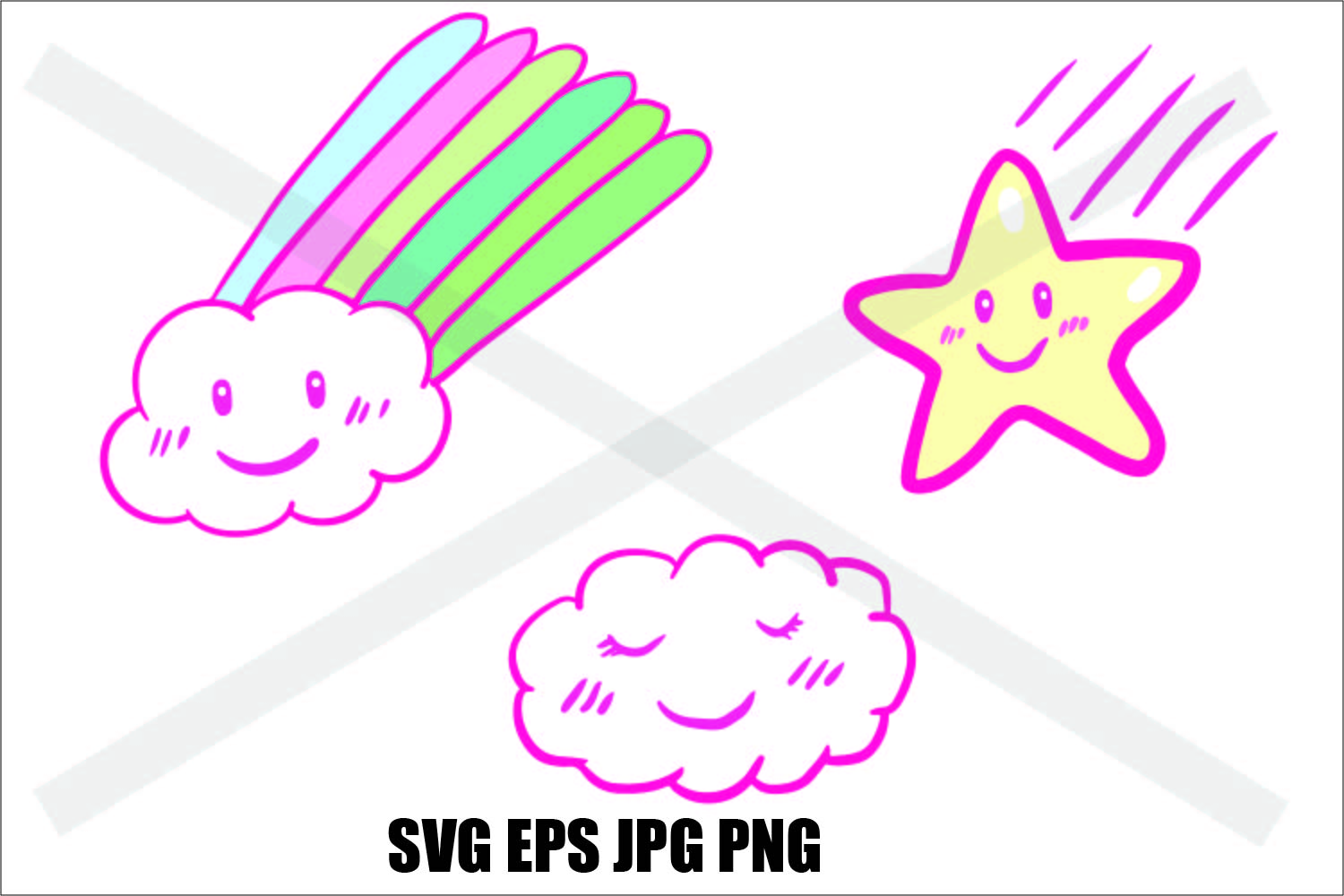 Stars and cloud- SVG EPS JPG PNG example image 1