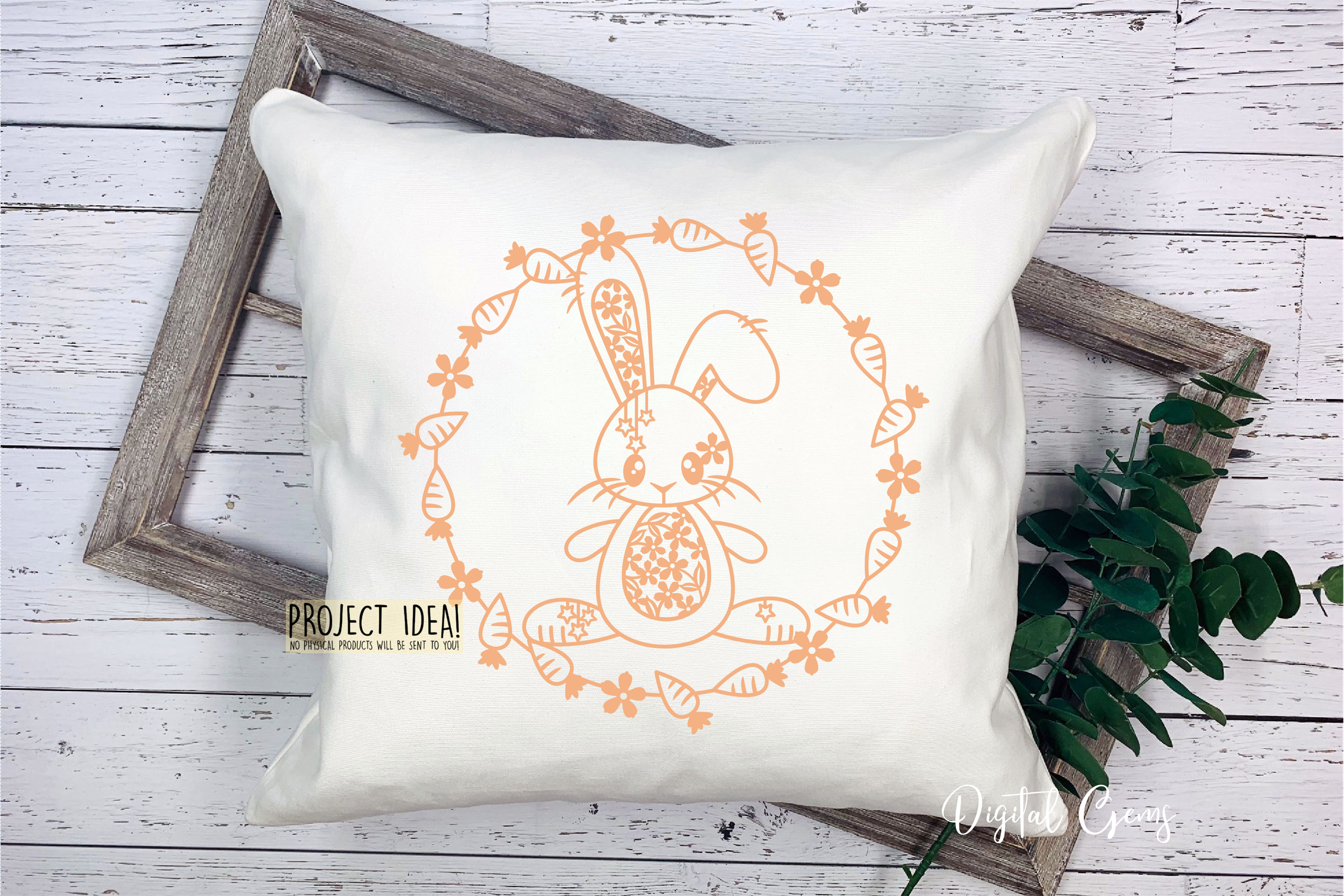 Rabbit paper cut design. SVG / DXF / EPS files example image 6