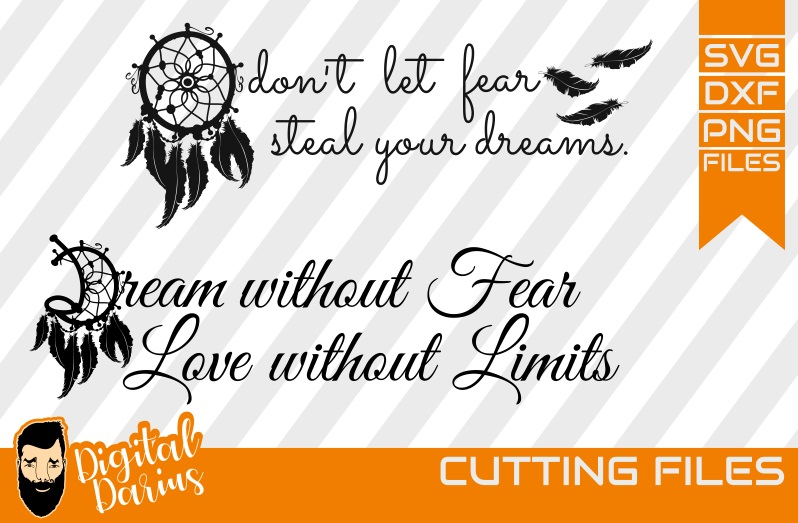 2x Dreamcatcher svg, Feather svg, Dreams without fear svg example image 1