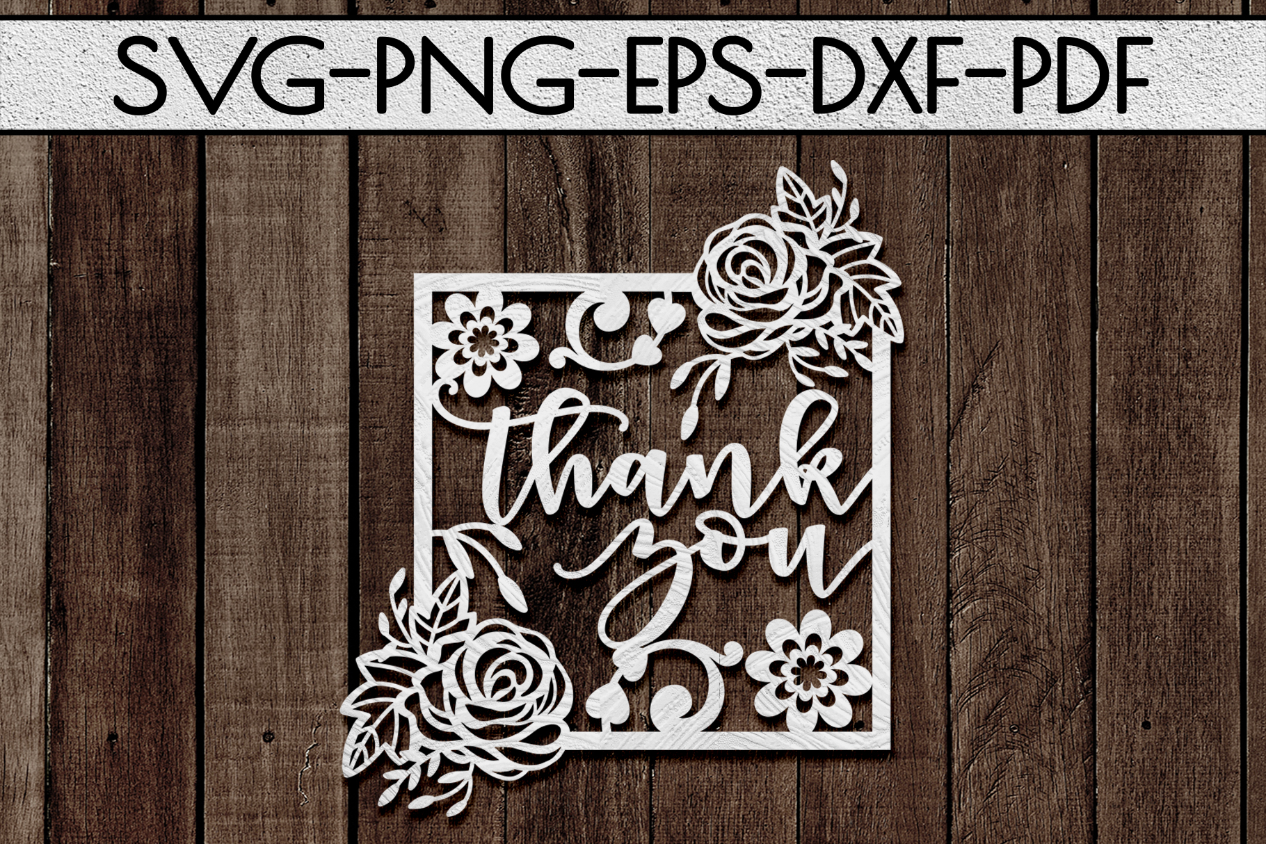 Thank You 5 Papercut Template, Appreciation Frame SVG, PDF example image 1