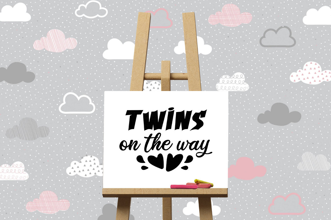 Pregnancy Announcement SVG Cut Files - Twins on the way example image 3