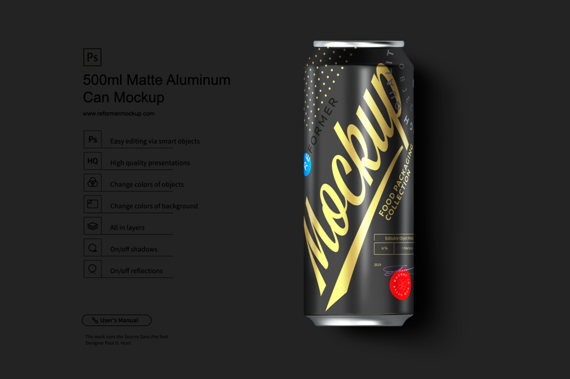 500ml Black Aluminum Can Mockup example image 1