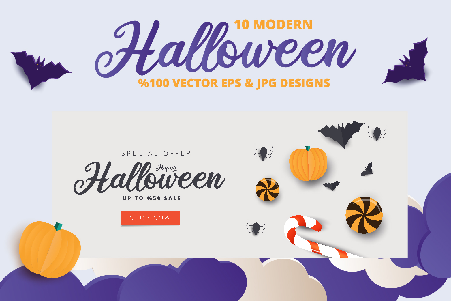 Halloween Sale header or banner design and invitation flyer example image 10