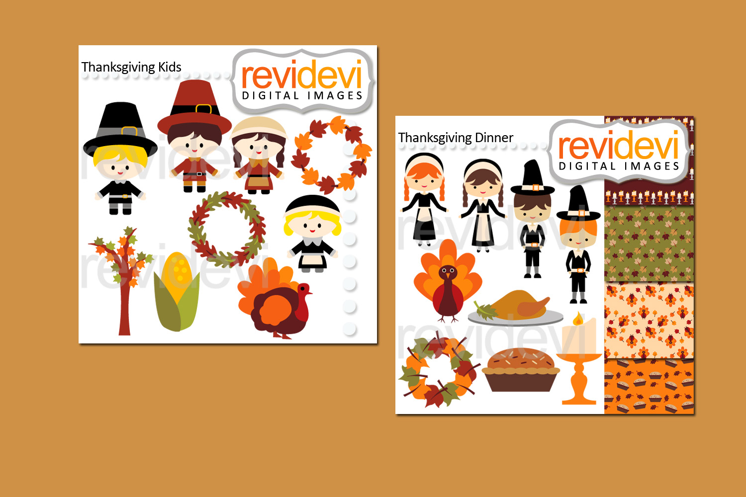 Thanksgiving Day Bundle Clipart Graphics example image 2