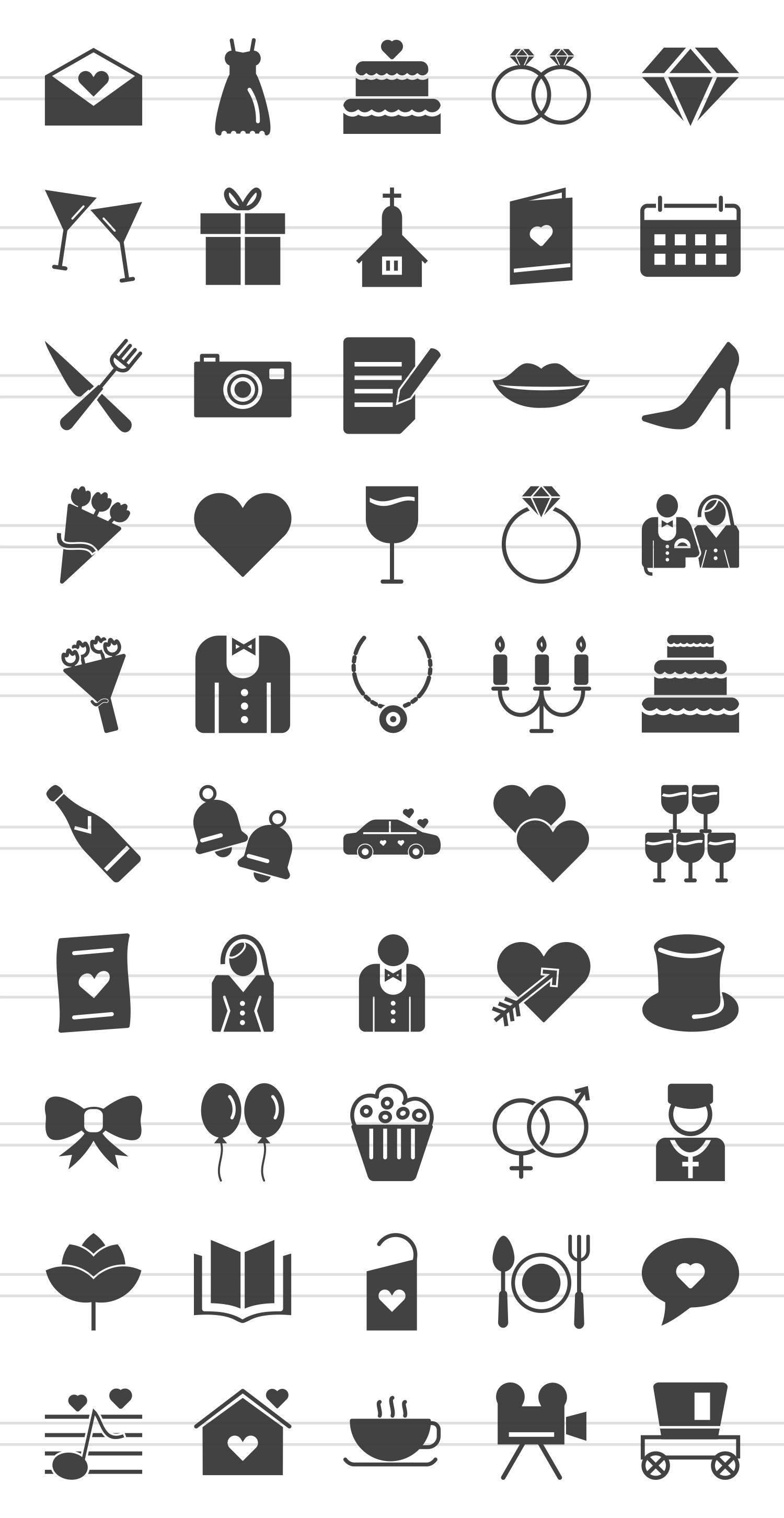 50 Wedding Glyph Icons example image 2