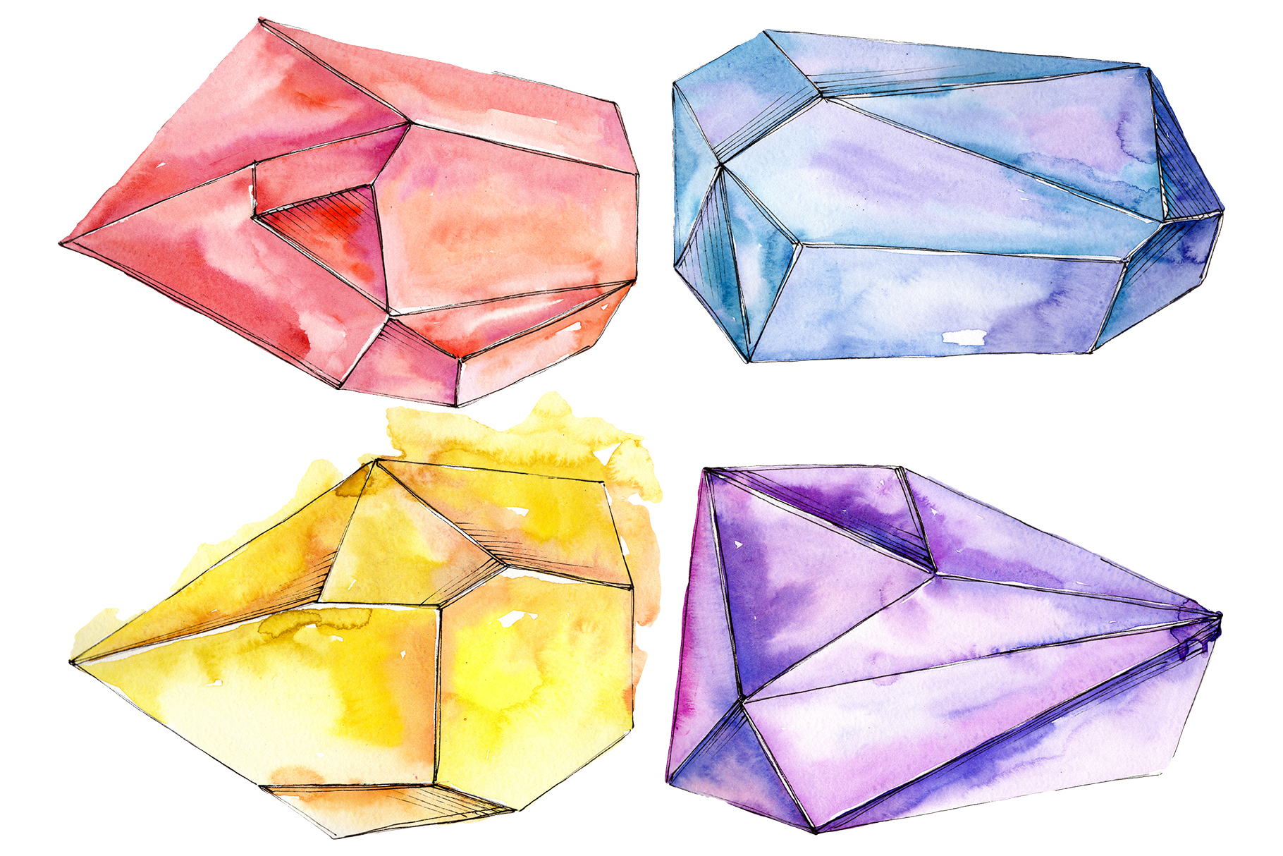 Crystals red yellow blue Watercolor png example image 1