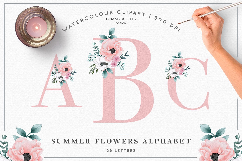Watercolour Summer Flower Alphabet - Wedding Clipart example image 1