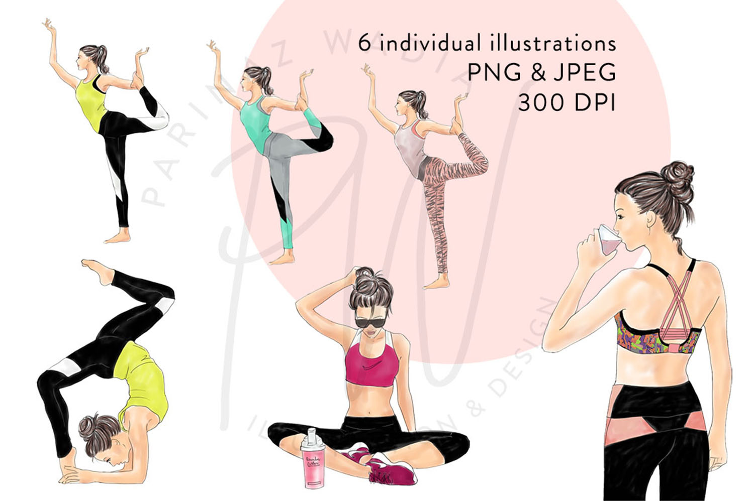 Yoga girls watercolour illustrated clipart example image 2