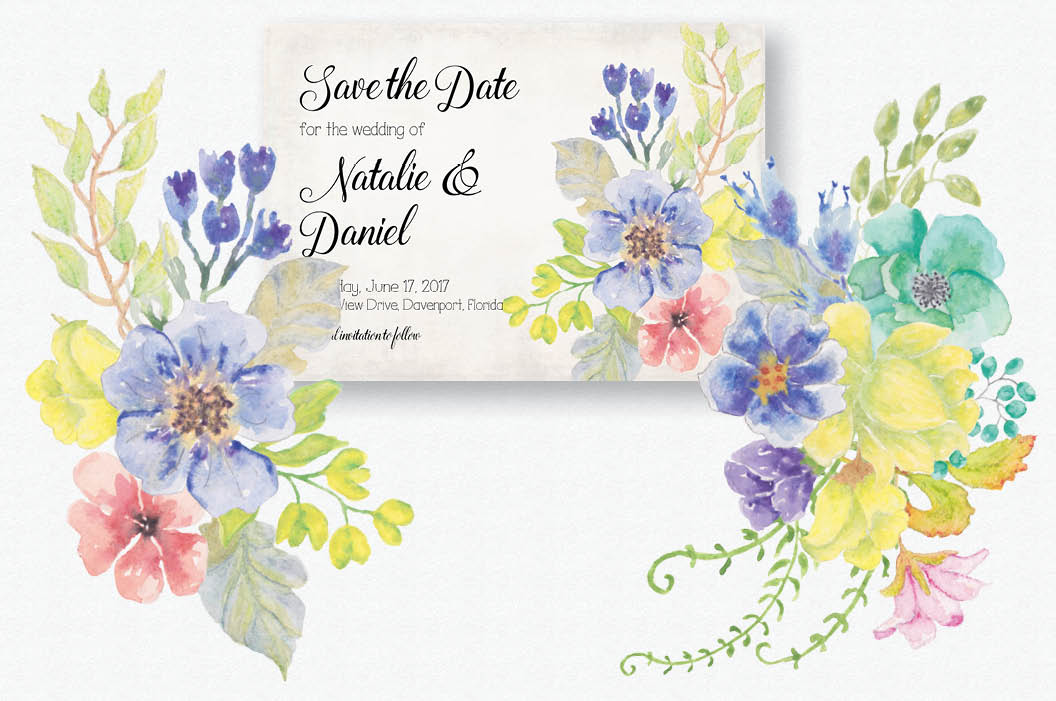 Watercolor sprays of bright spring flowers example image 2