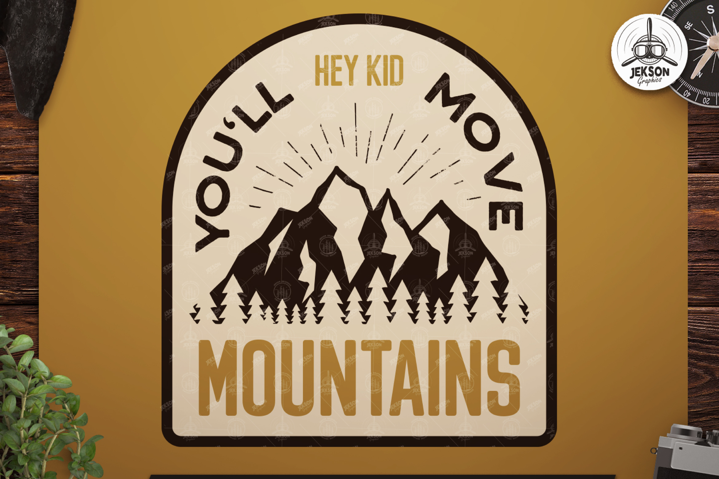 Retro Mountains Adventure Badge / Vintage Travel Logo Patch example image 1