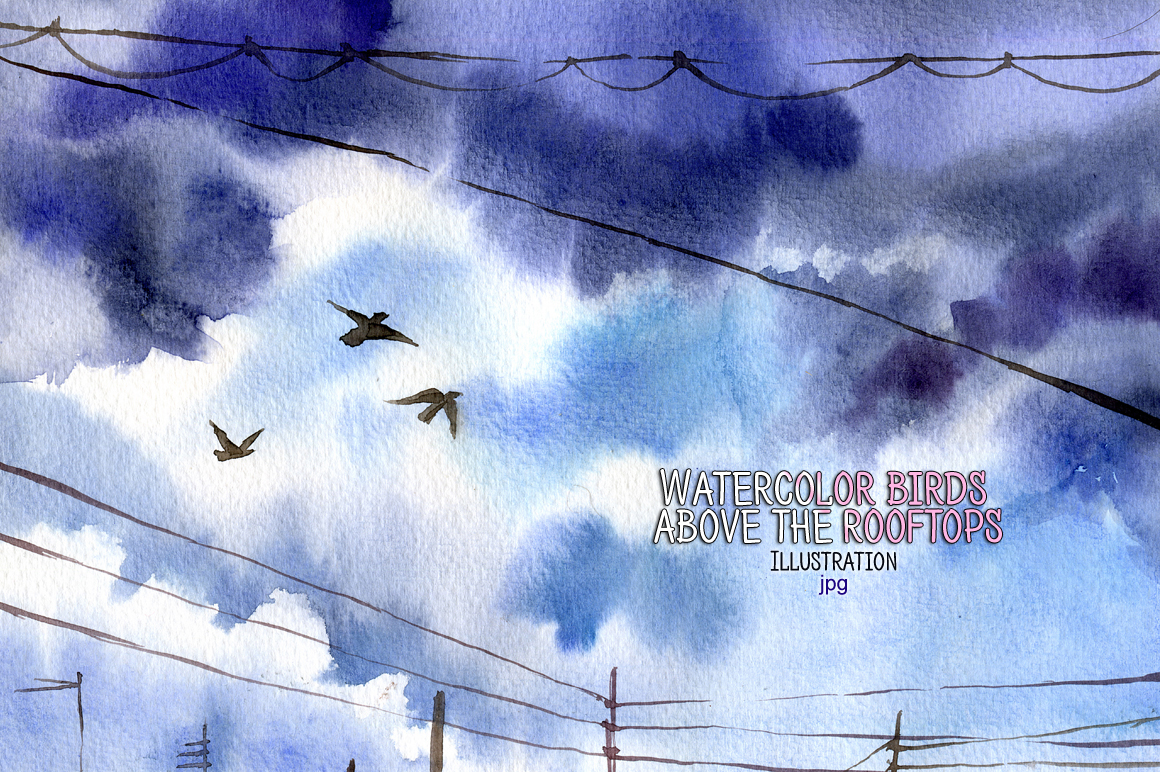 Watercolor birds above the rooftops example image 1