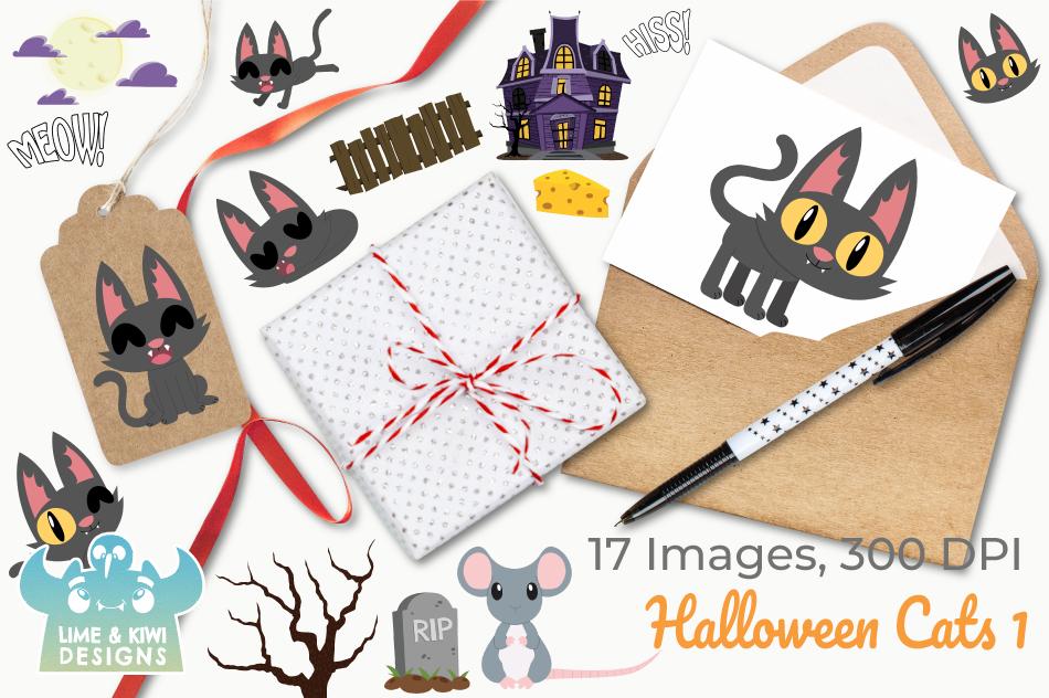 Halloween Cats 1 Clipart, Instant Download Vector Art example image 4
