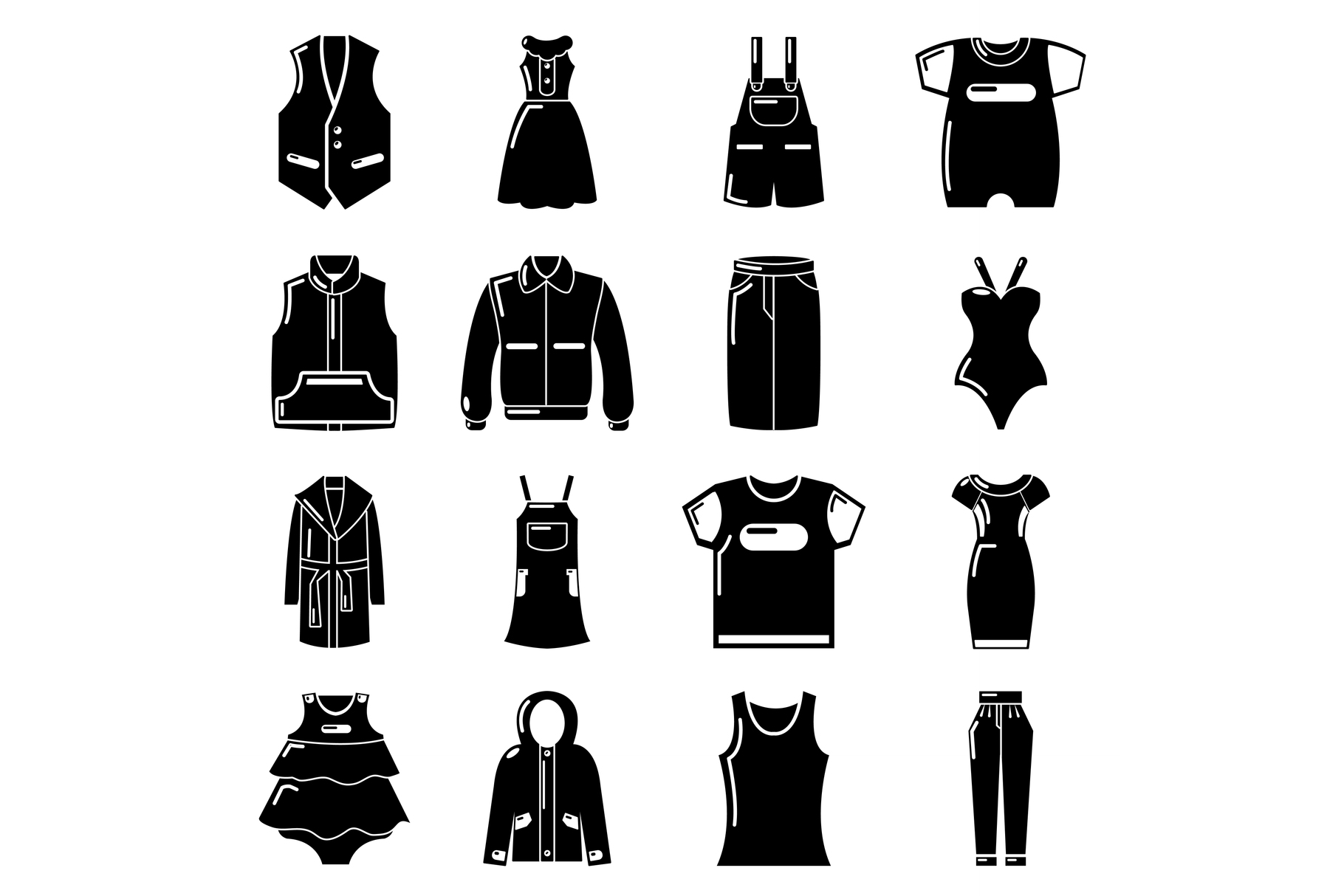 Fashion clothes wear icons set, simple style example image 1