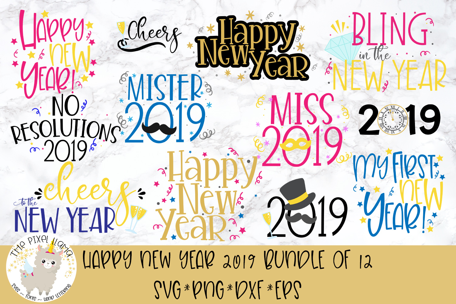 New Year 2019 Bundle of 12 Files SVG Cut File example image 1