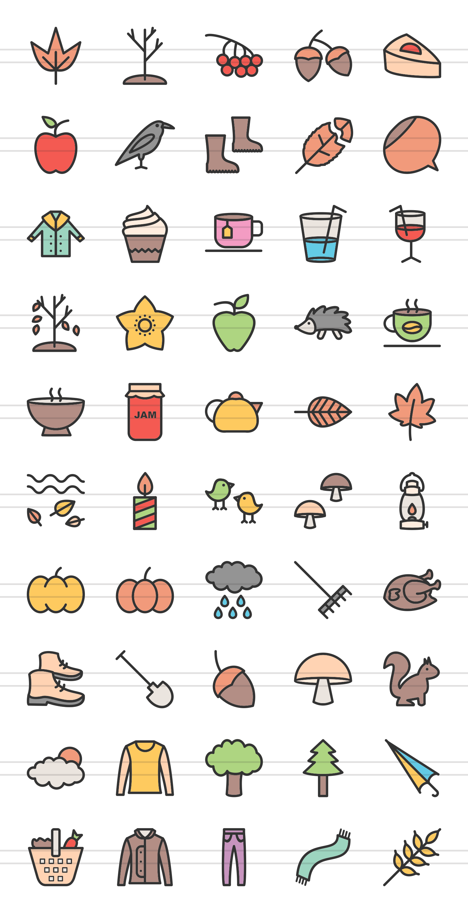 50 Autumn Linear Multicolor Icons example image 2