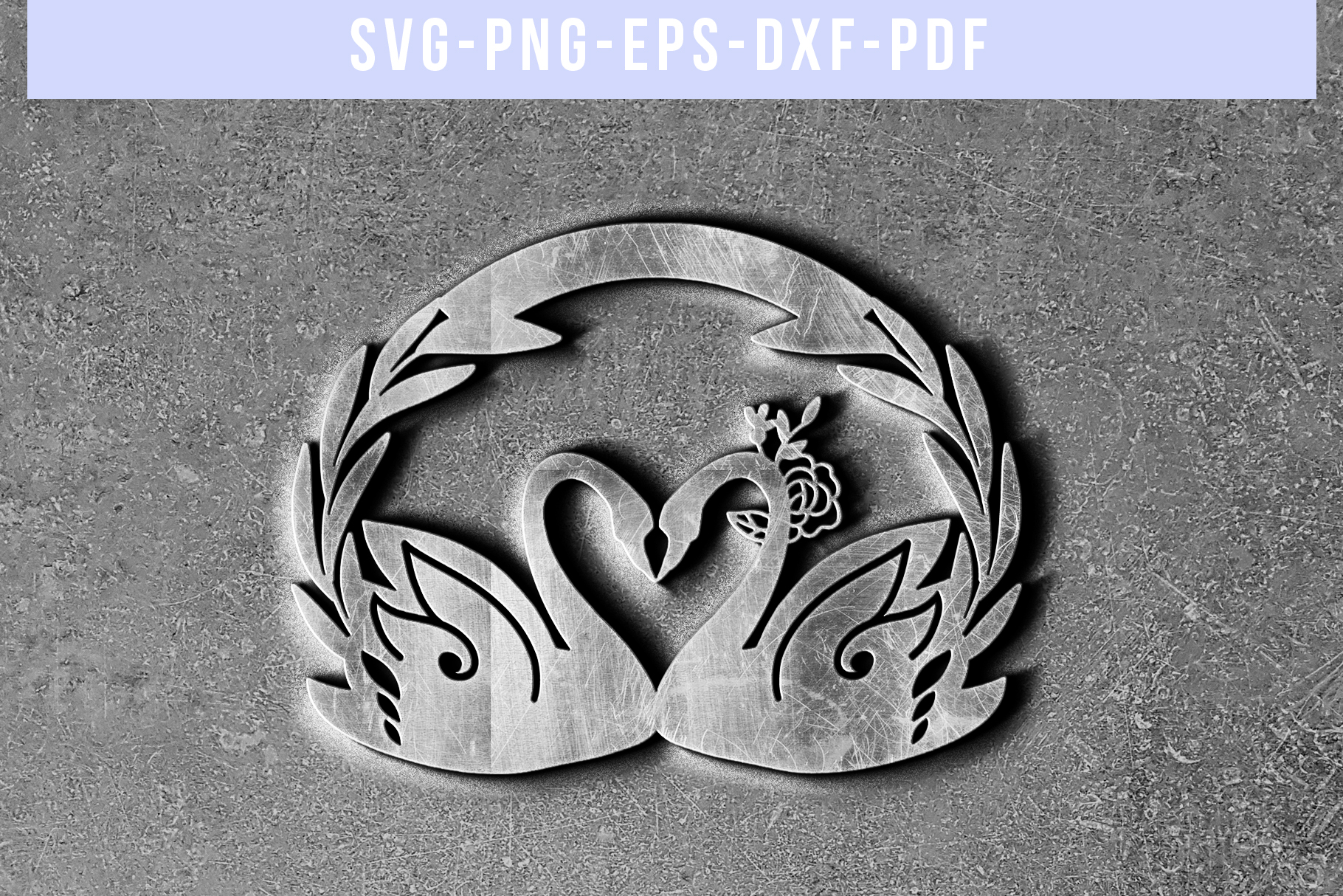 Customizable Wedding Swan Papercut Template, Lover SVG, DXF example image 5
