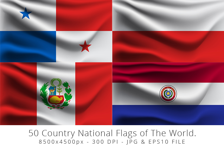Realistic waving 50 Country National Flags of The World. example image 9