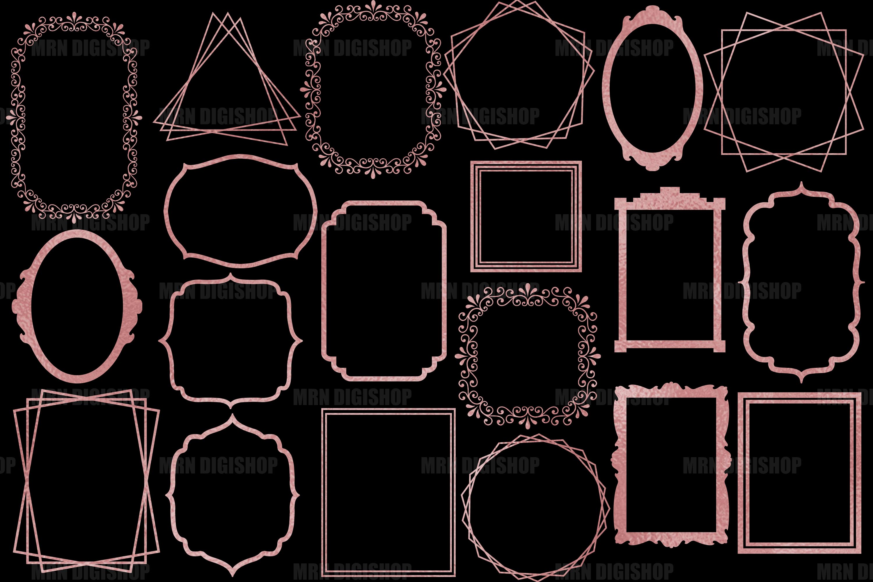 Rose Gold Frames Clipart Set of 20 example image 2