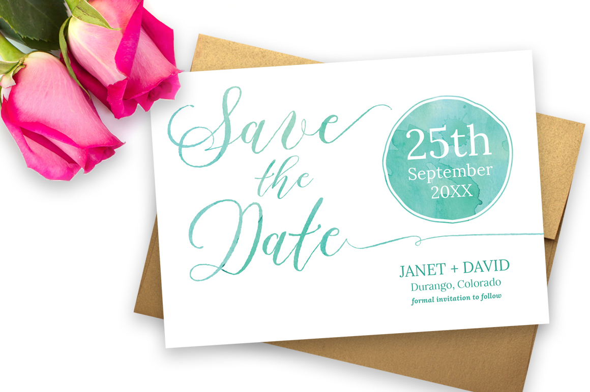 Watercolor Save the Date example image 3