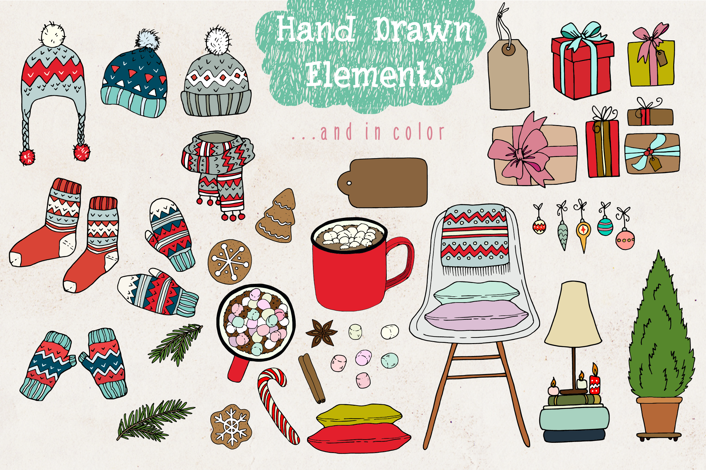 Cozy Christmas Lettering & Clipart example image 3