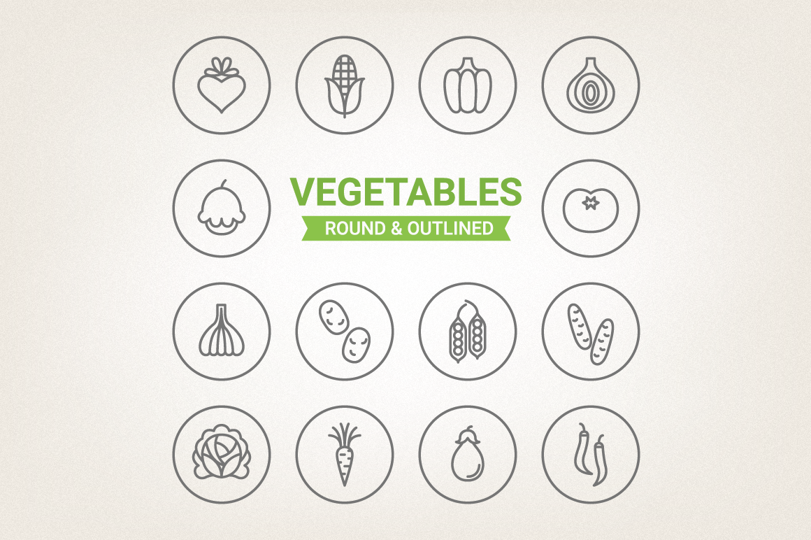 Circle Vegetables Icons example image 1