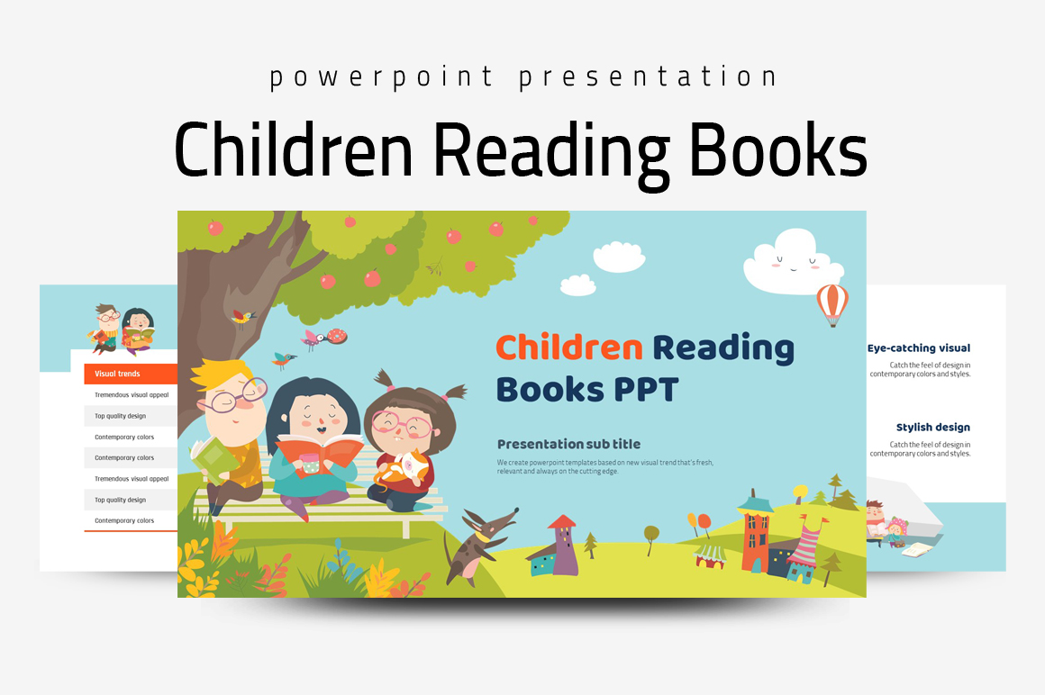Children Reading Books PPT example image 1