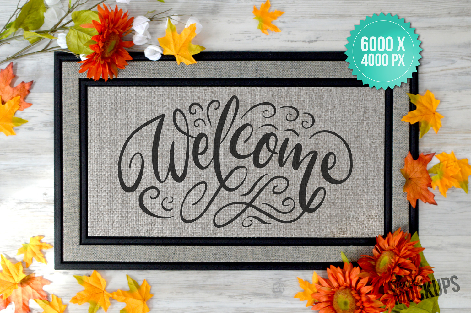 Sublimation Doormat Mockup With Flowers & Shoes example image 2