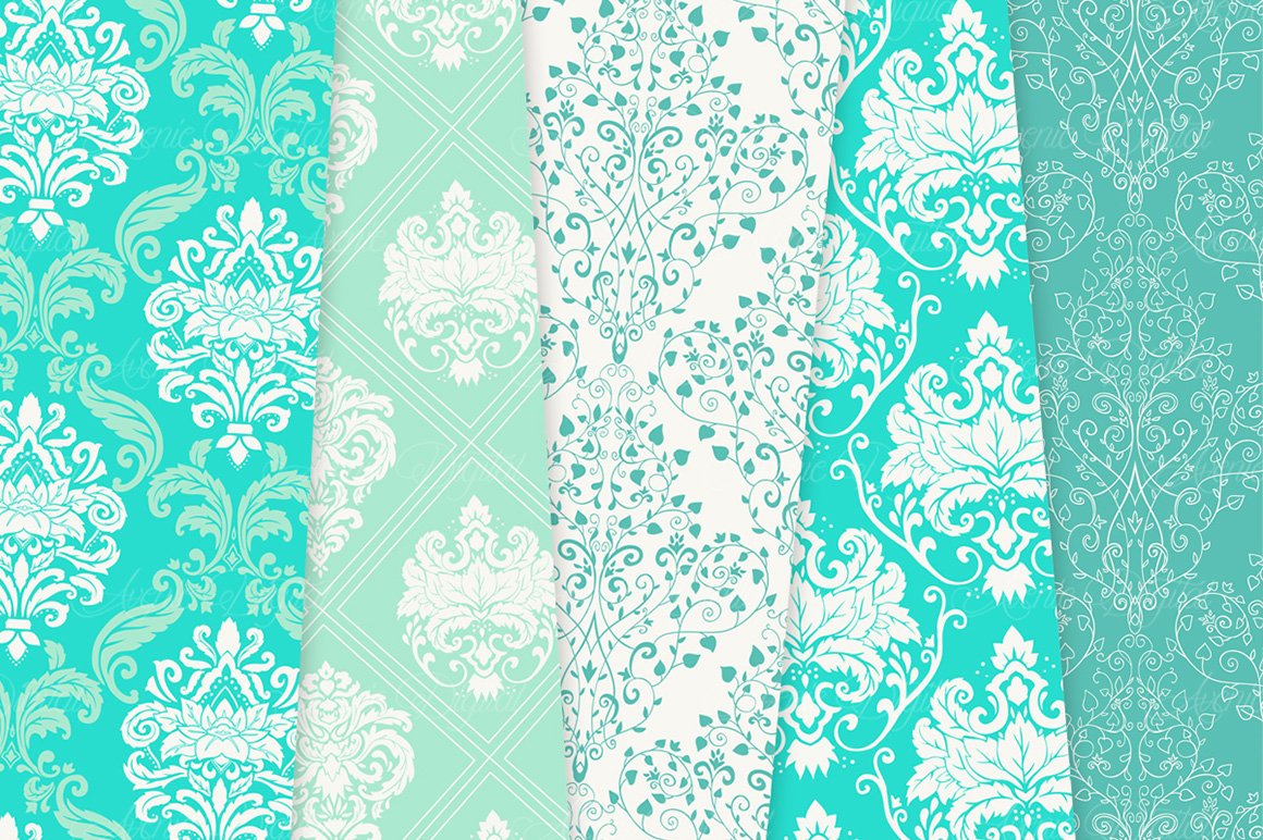 28 Mint Damask Patterns - Wedding Seamless Digital Papers Bundle example image 12