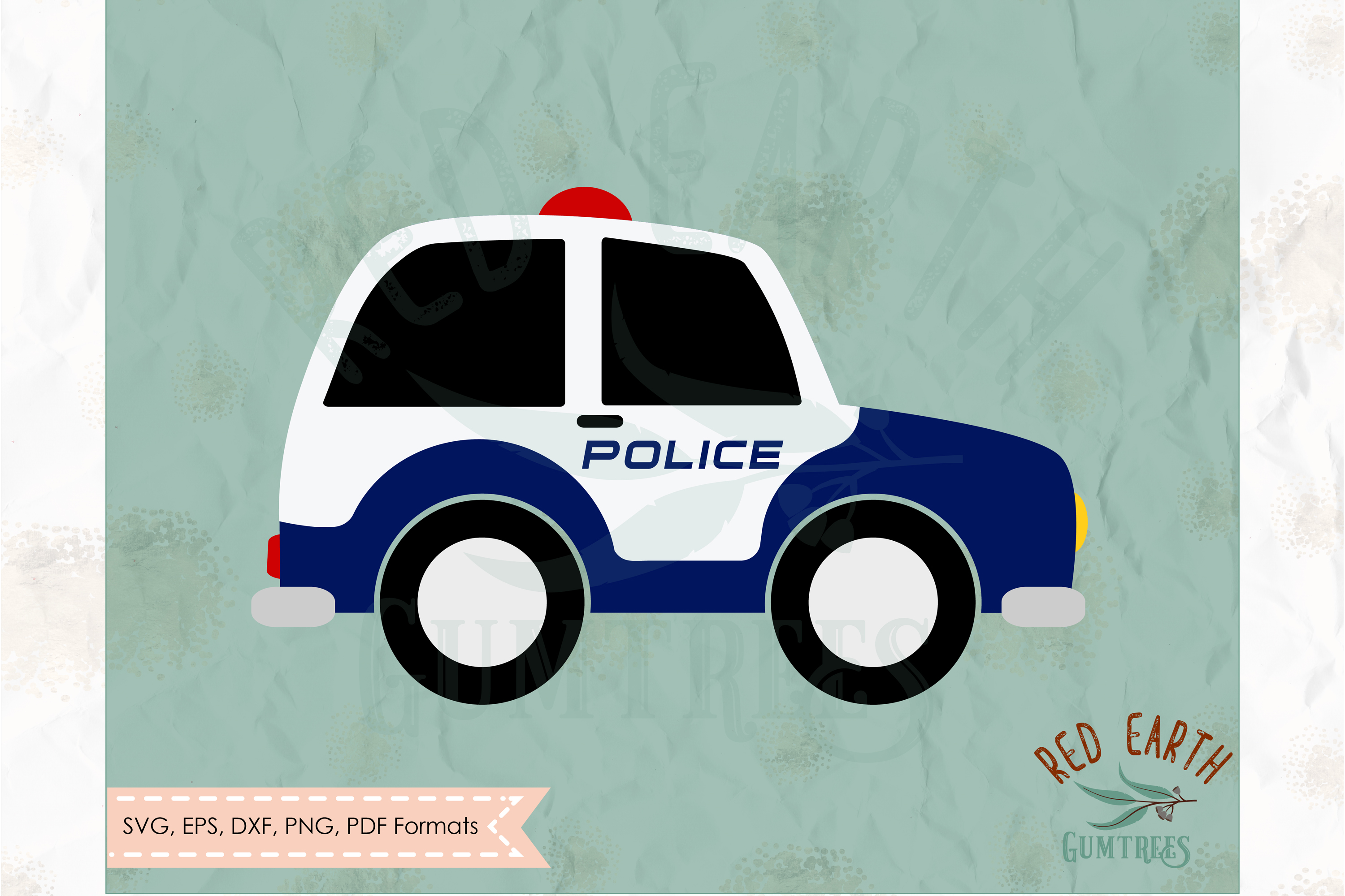 Cute police car, small police car in SVG,DXF,PNG,EPS, PDF example image 1