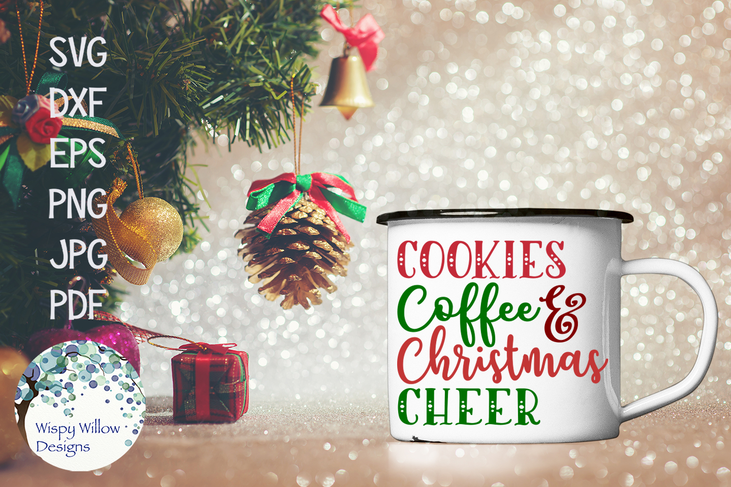 Cookies Coffee and Christmas Cheer SVG Cut File example image 2