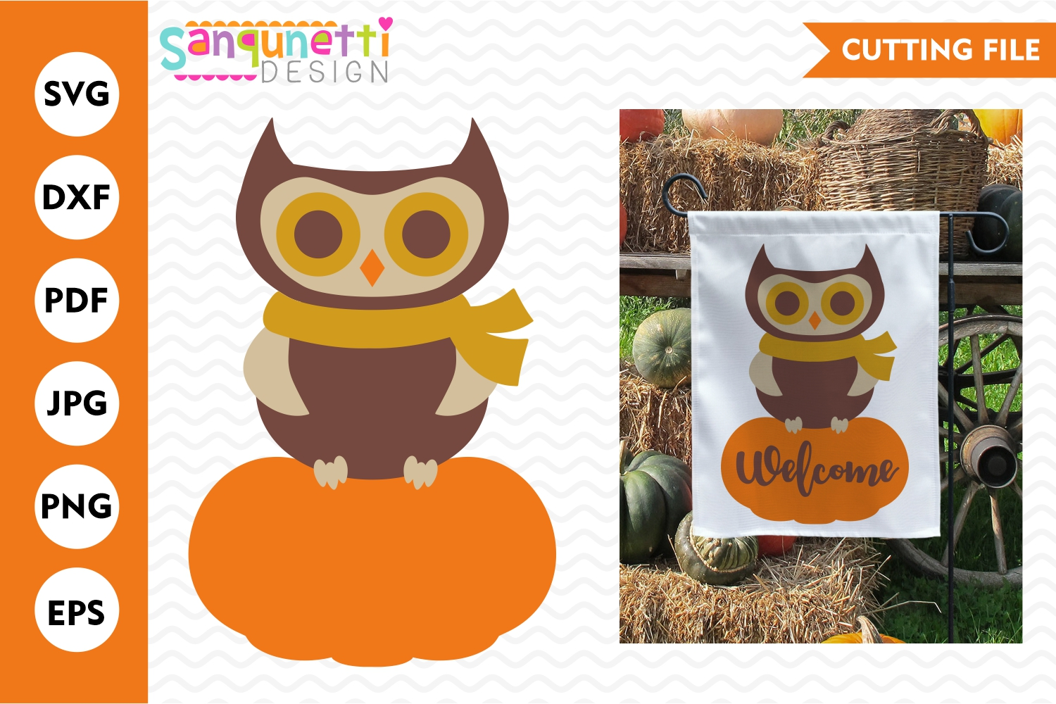 Owl on pumpkin SVG, fall cutting file example image 1