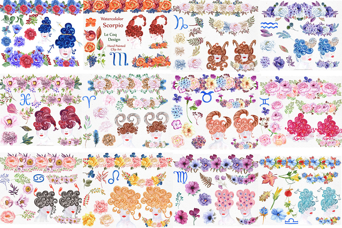 Watercolor zodiac signs clipart example image 2