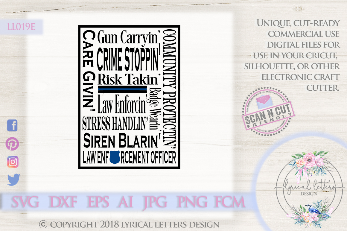 Law Enforcement Police Subway Art SVG DXF Cut File LL019E example image 1