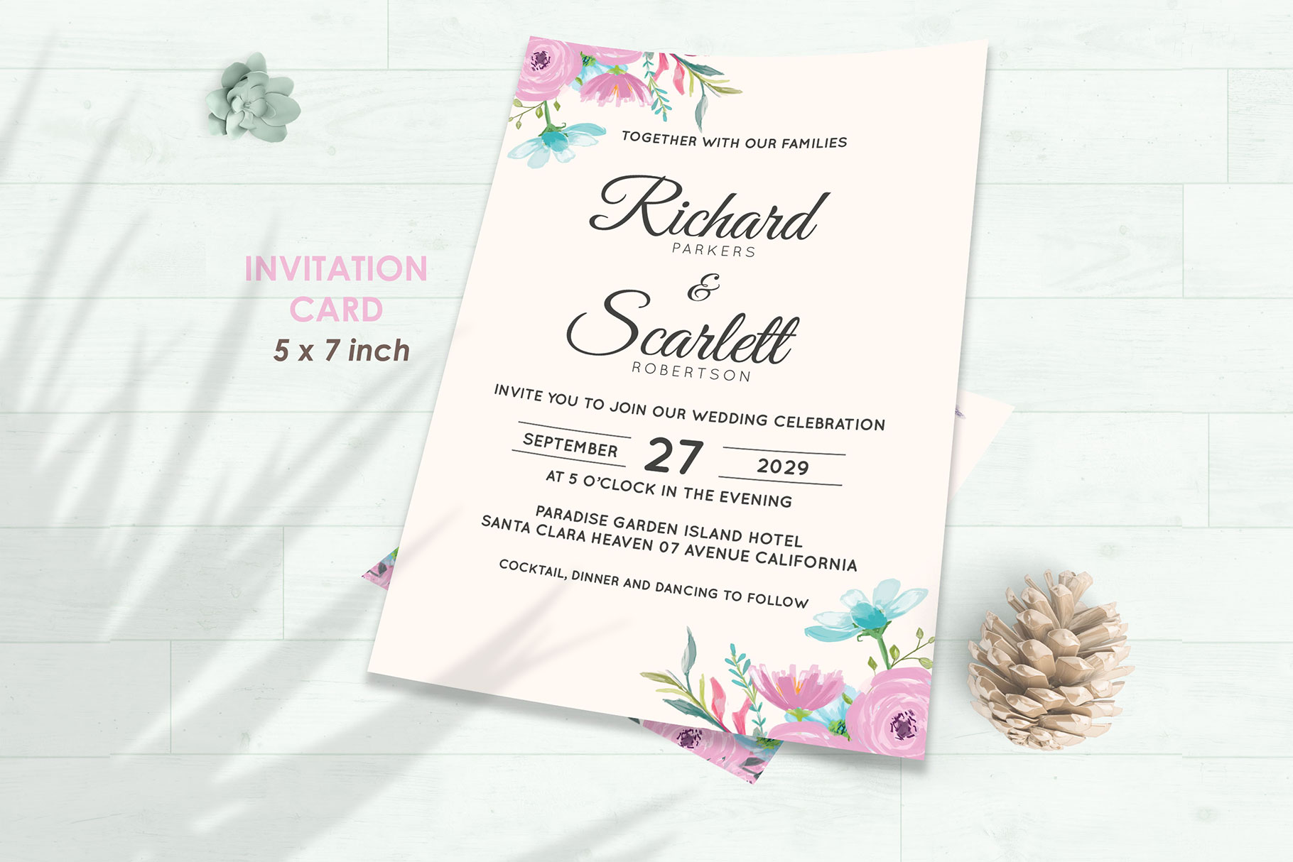 Wedding Invitation Set #12 Watercolor Floral Flower Style example image 2