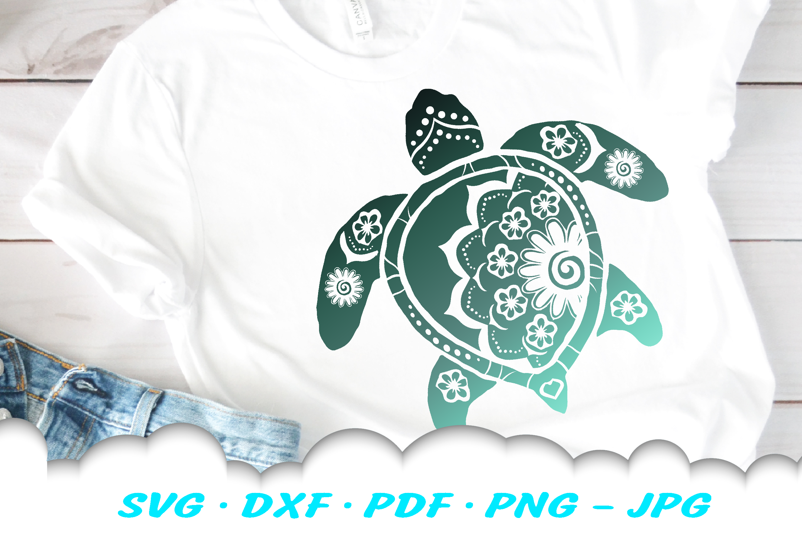 Mandala Sea Turtle SVG DXF Cut Files Bundle example image 4