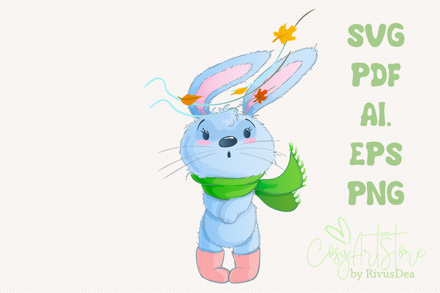 Bunny SVG download, Autumn leaves rabbit PNG, Hare, Cute example image 1