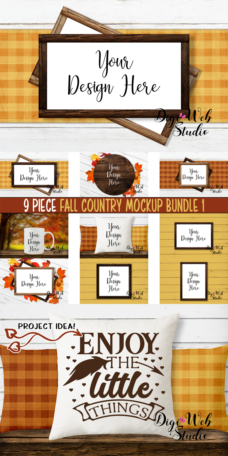 Mockup Bundle - Fall Country Wood Signs, Pillow & Coffee Cup example image 20