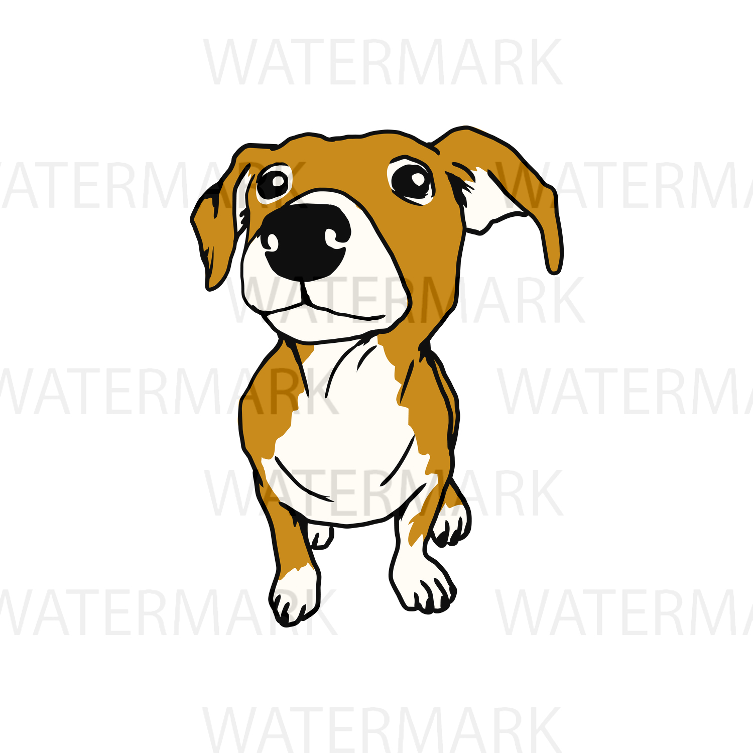 Cute Dogs A - SVG/JPG/PNG Hand Drawing example image 1