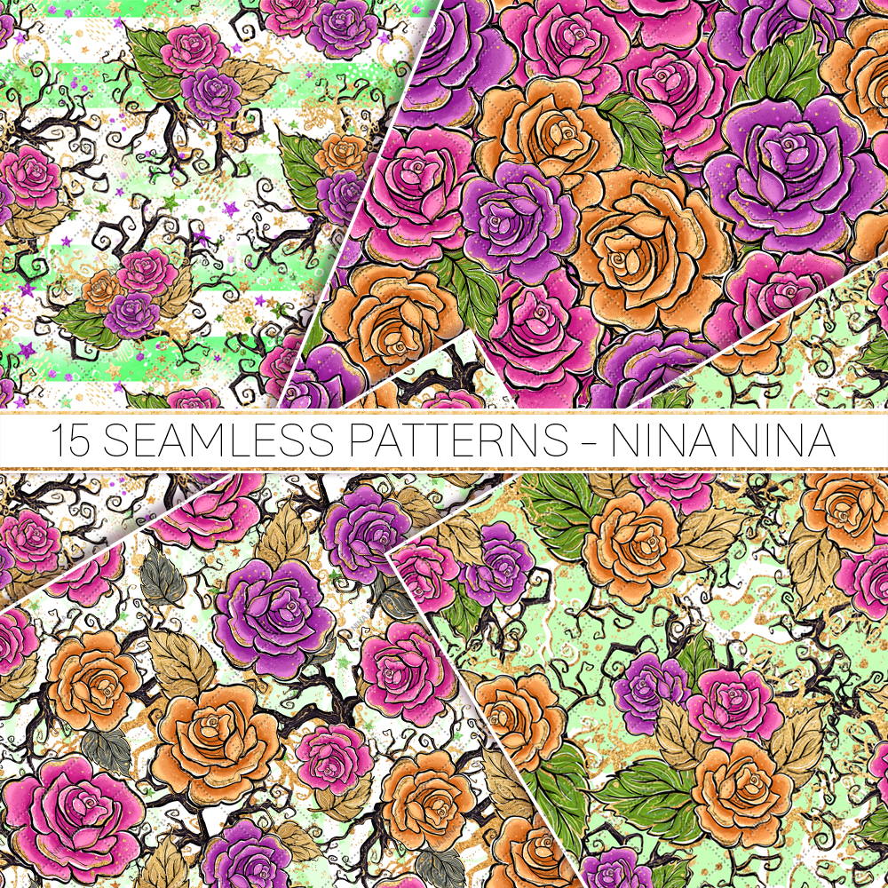 Halloween Flowers Seamless Patterns, Roses Digital Papers example image 3