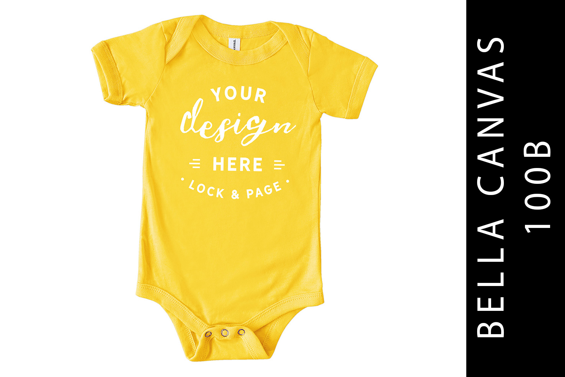 Baby Bella Canvas 100B Romper Mockup Suit Yellow example image 1