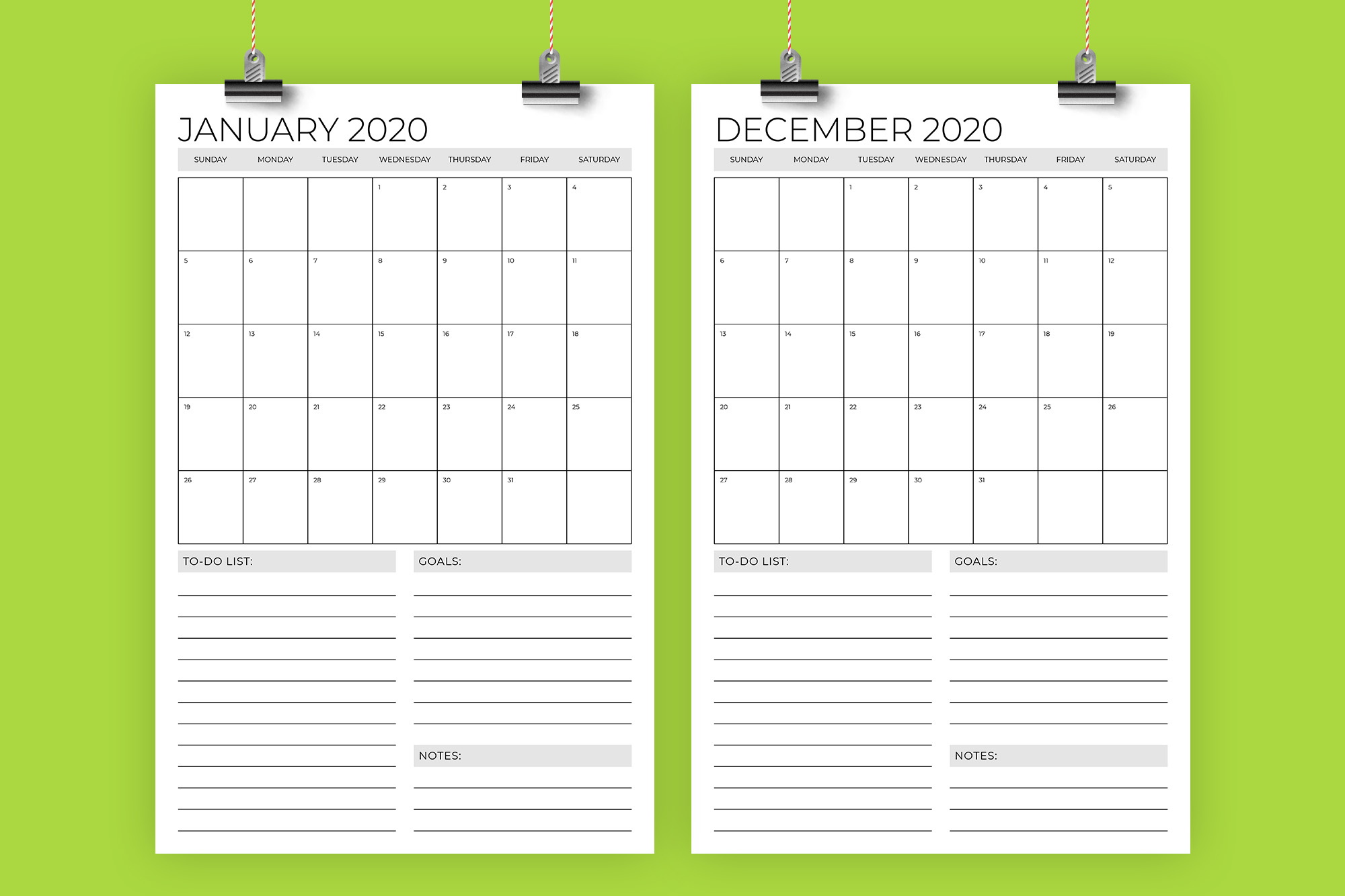 Vertical 11 x 17 Inch 2020 Calendar Template example image 1