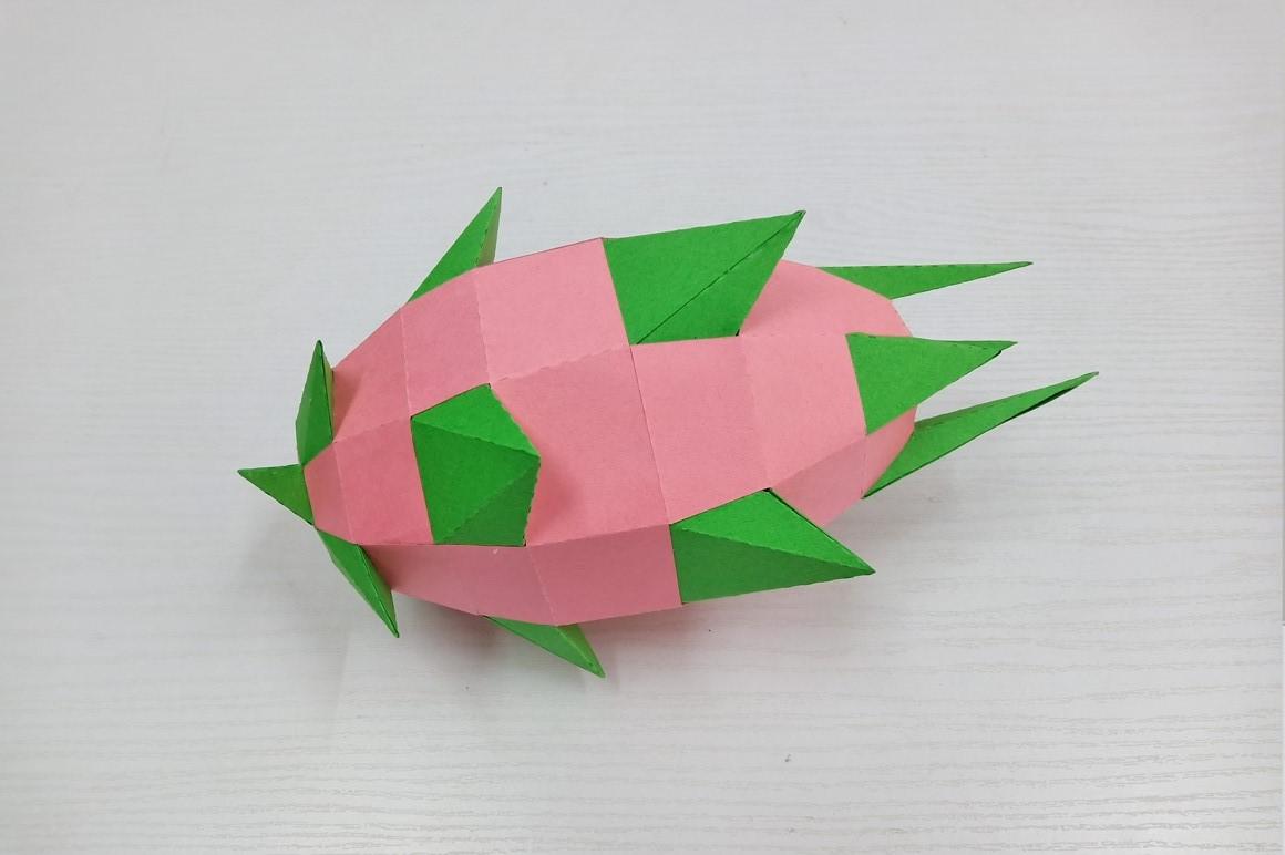 DIY Papercraft Dragon fruit,Pitaya fruit,Lowpoly papercraft example image 3