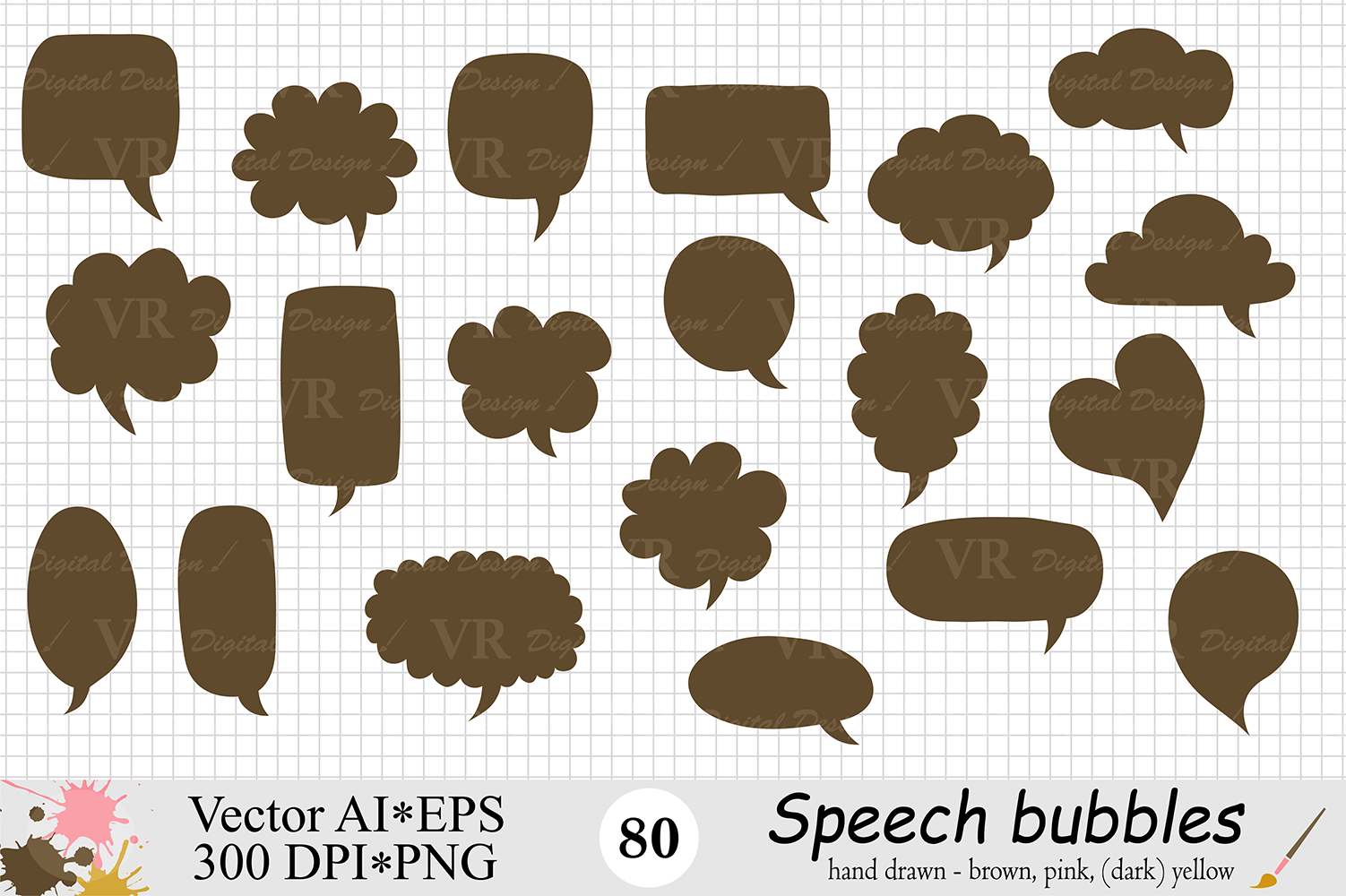 Speech Bubbles Clipart / Chat Bubbles / Hand drawn Text bubbles / Brown, Pink, Yellow - Vector example image 3