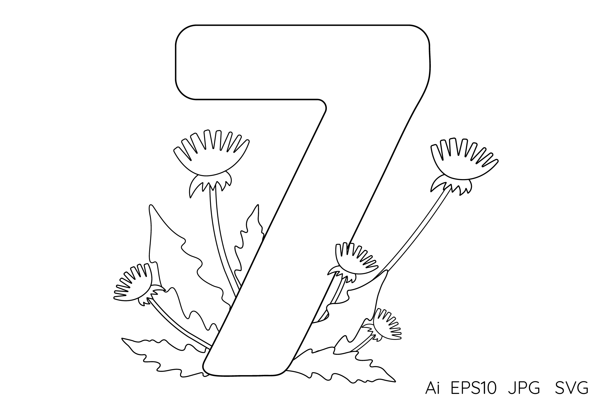 Numbers from 0 to 9. Coloring pages. example image 9