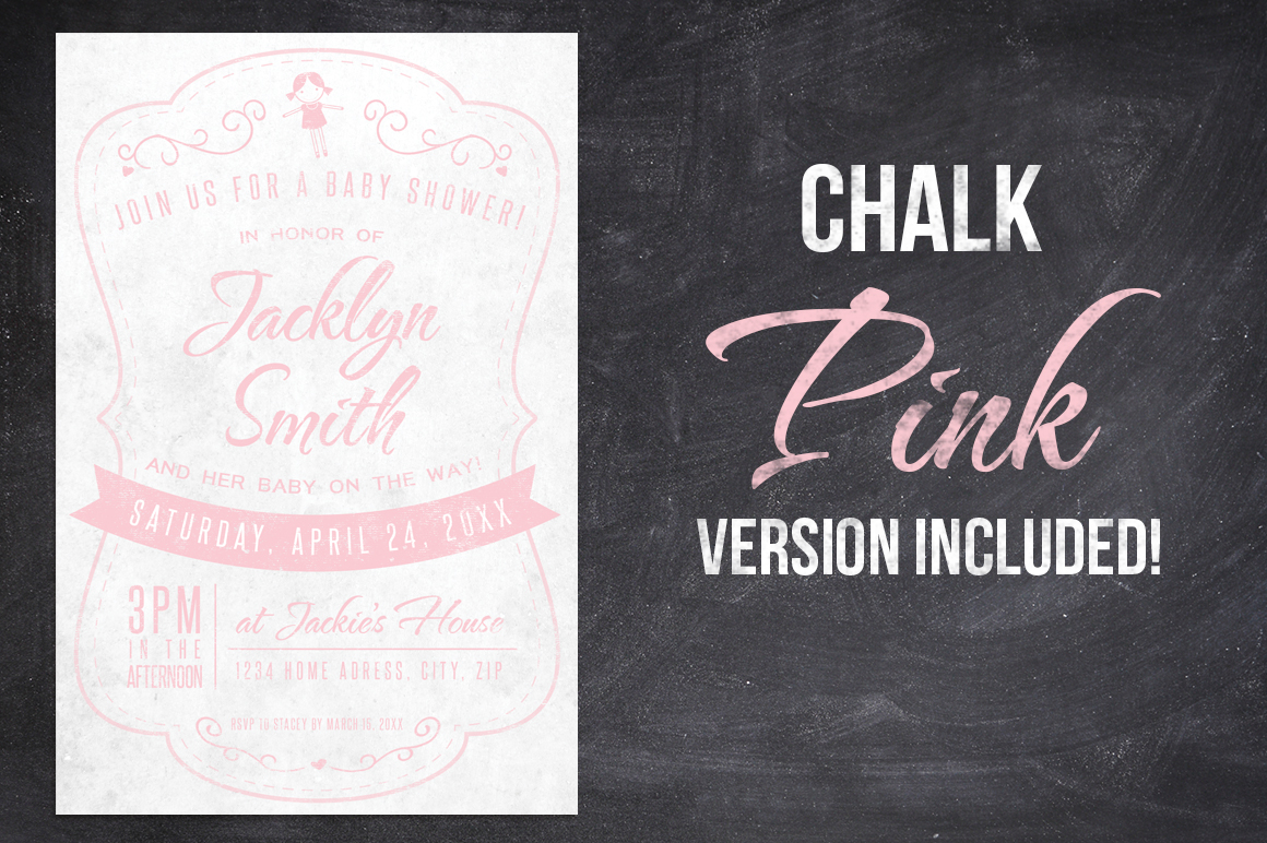 Chalk Baby Shower Invite example image 3