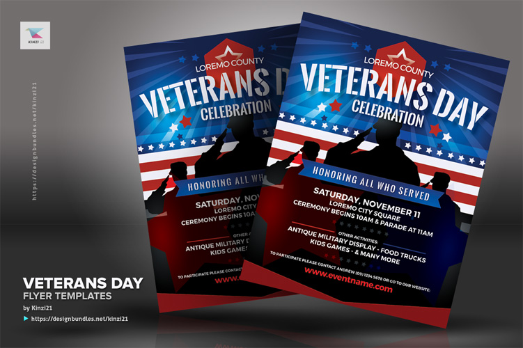 Veterans Day Flyer Templates example image 3